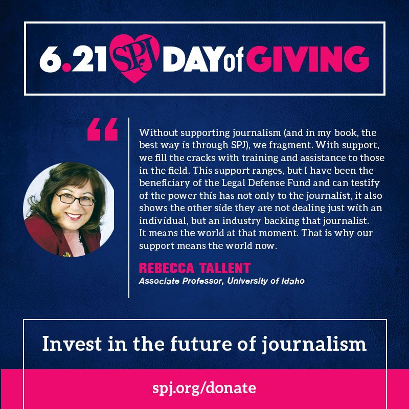 Today is the day! Join us for 24 hours of giving. Help ensure freedom of the press is always protected -- Invest in the future of journalism.   #SPJProud @RebeccaTallent1 https://t.co/uv9x9jBL7o