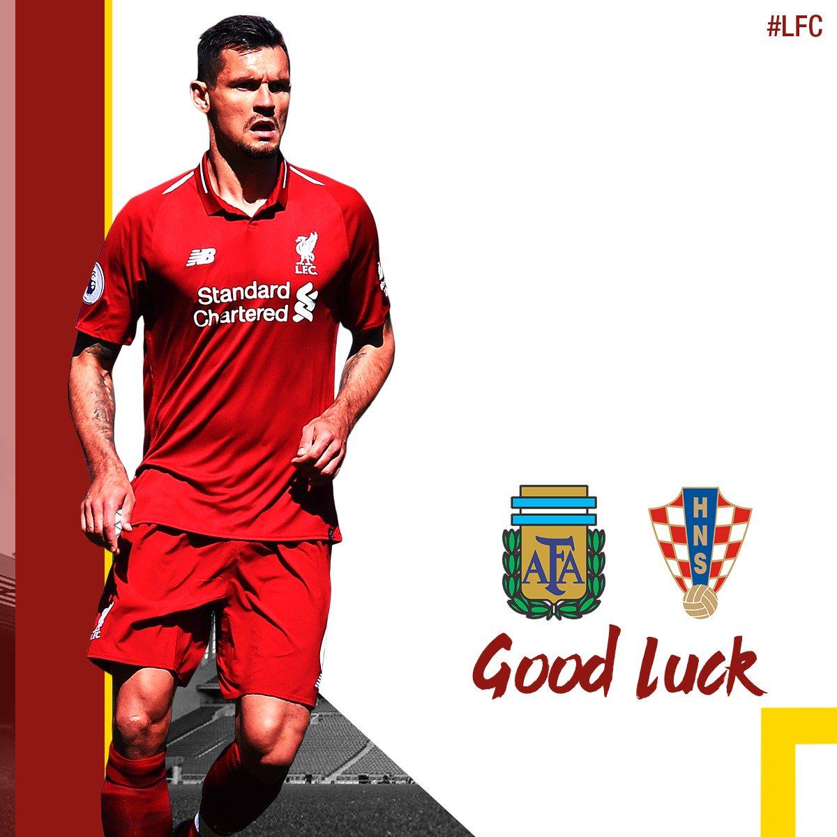 Good luck tonight, Dejan Lovren! 👊 🇦🇷 vs 🇭🇷 (19:00 BST)