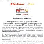Image for the Tweet beginning: La Région @iledefrance et @Bpifrance