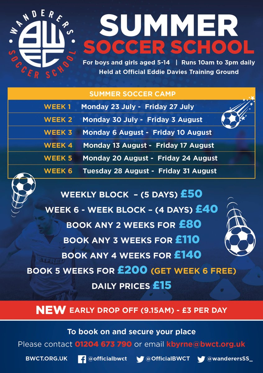⚽️🦁SUMMER 2018 SOCCER CAMPS🦁⚽️ We are now taking bookings for our Summer Soccer Camps! The sessions will run throughout the summer holidays and we are looking to have one of our busiest Summers yet! All days will be held at the Eddie Davies Football Academy⚽️#BWFC