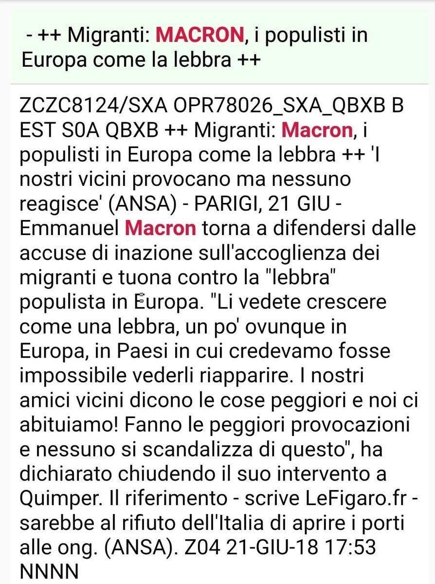 Temo che #Macron non abbia capito che il tempo dell'#Italia in ginocchio dai cugini francesi è finito. Un consiglio sincero: toni bassi, lavoro duro e collaborazione salveranno l'#Europa, non certamente l'arroganza. Vuoi vedere che alla fine i #populisti sono gli unici seri?  - Ukustom