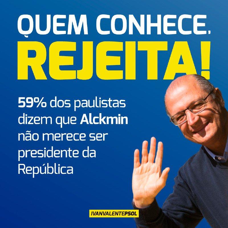 59% dos paulistas consideram que Alckmin não merece ser candidato ao Planalto, dado seu trabalho em São Paulo, segundo o Instituto Paraná Pesquisas. O recado parece claro: quem conhece, rejeita!