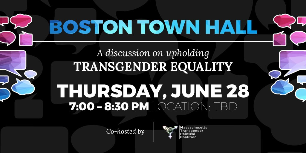 Hey #Boston: Still feeling energized after #Pride? Us too! So join us next Thursday for a Town Hall to learn how you can be a part of the grassroots movement committed to upholding #TransLawMA: https://t.co/pnCMYUpp31 #MAPoli