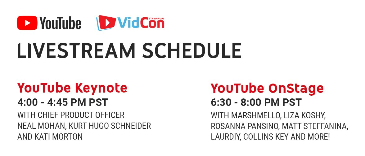 Can't make it to #VidCon? Catch the fun via livestream:  YouTube Keynote→https://t.co/5XsfRxqRZk #YouTubeOnStage→https://t.co/lGtOkPIOPS  #VidConYouTubeYouTube