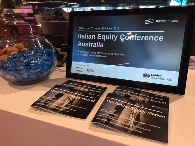 In Melbourne today for the Italian Equity Roadshow organized by Borsa Italiana in cooperation with CGS-CIMB-Kepler-Cheuvreux and @UBS. 10 Italian companies are meeting with Australian Superannuation Funds @asfaAUST and Asset Managers.