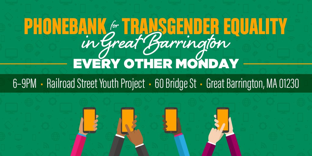 Our campaign to uphold #TransLawMA is coming to #GreatBarrington! Join us at our phone bank on Monday to urge #Massachusetts voters to vote YES this November: https://t.co/kg4tdEVFBx #MAPoli