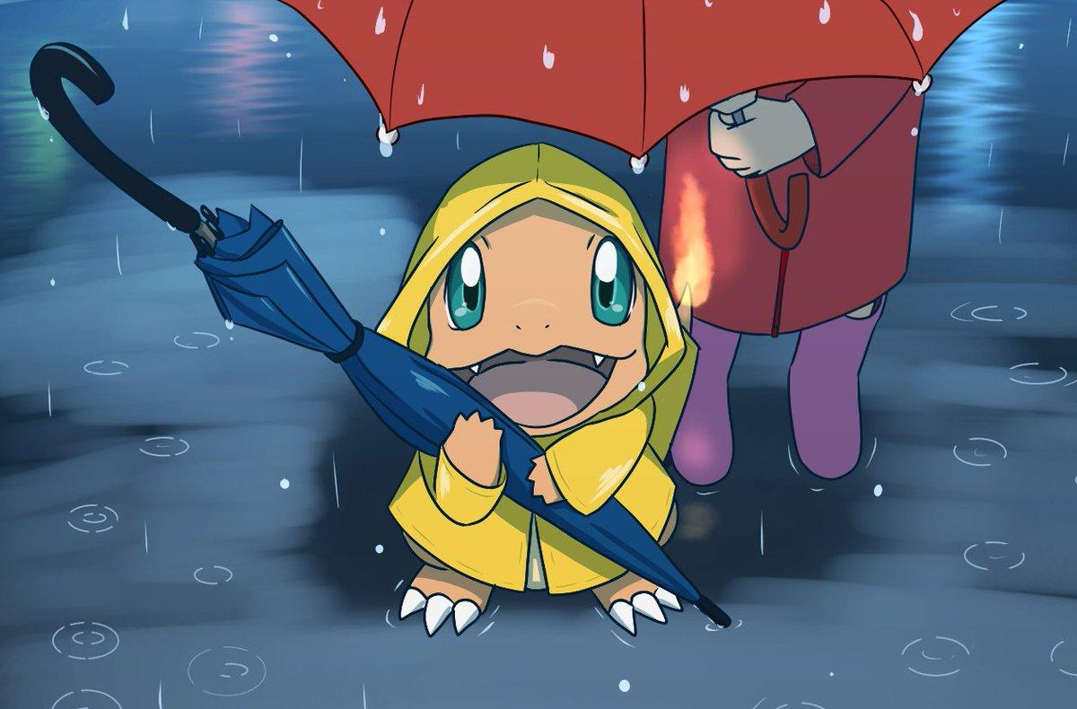 雨の日のおむかえ #ポケモンと梅雨