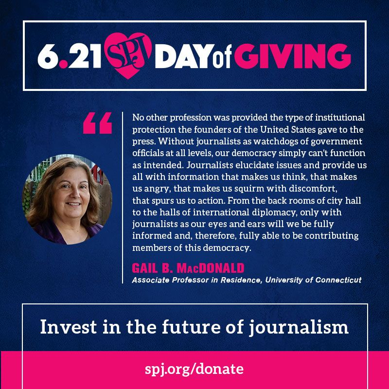 Today is the day! Join us for 24 hours of giving. Help us reach our goal and ensure freedom of the press is always protected -- Invest in the future of journalism. #SPJProud @GBracci  https://t.co/uv9x9jBL7o