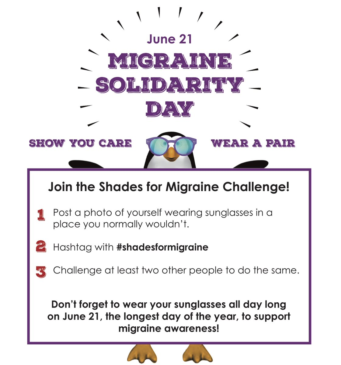 6bd8a1a844c9a ... we ask everyone to wear a pair of sunglasses where they normally  wouldn't, even indoors! Post your photos with the hashtag  #ShadesForMigraine.