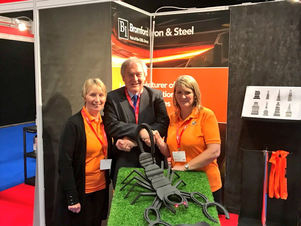 Delighted to announce that Bromford Iron &amp; Steel have won the Best Stand at #MiMExpo2018 Competition. We loved the scorpion their apprentices made for the show. Great ingenuity and fantastic way to promote young people in the sector. #ukmfg <br>http://pic.twitter.com/0jRvVbz9Dv