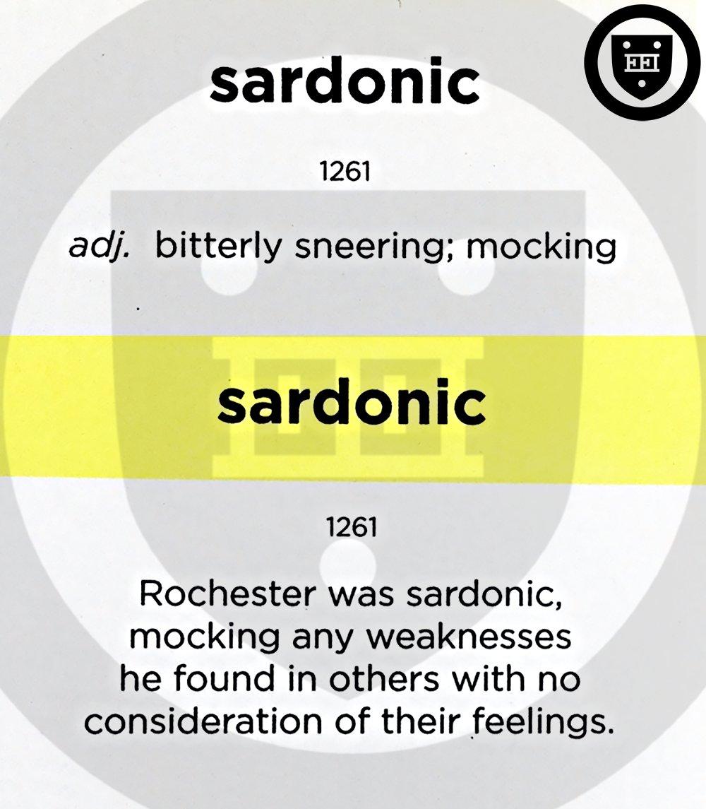 Sardonic (adj.) bitterly sneering; mocking #vocabulary