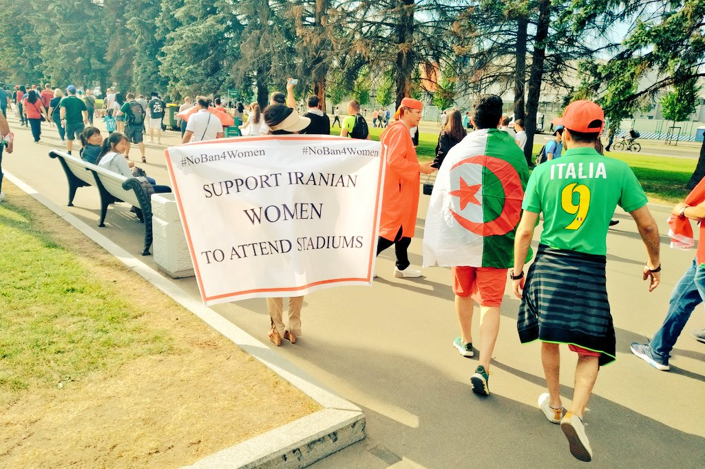 Interesting point about the protests to allow women in to Iranian Football stadiums, which weve been seeing at the World Cup. Even though theres a ban on political banners, FIFA approved them because it was a social appeal as opposed to a political slogan.