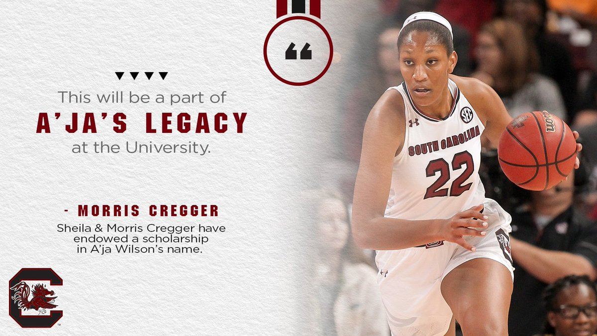 Shell always be a part of @GamecockWBB as @_ajawilson22 will have scholarship endowed in her name thanks to Sheila & Morris Cregger. #Gamecocks bit.ly/2yuzSaZ