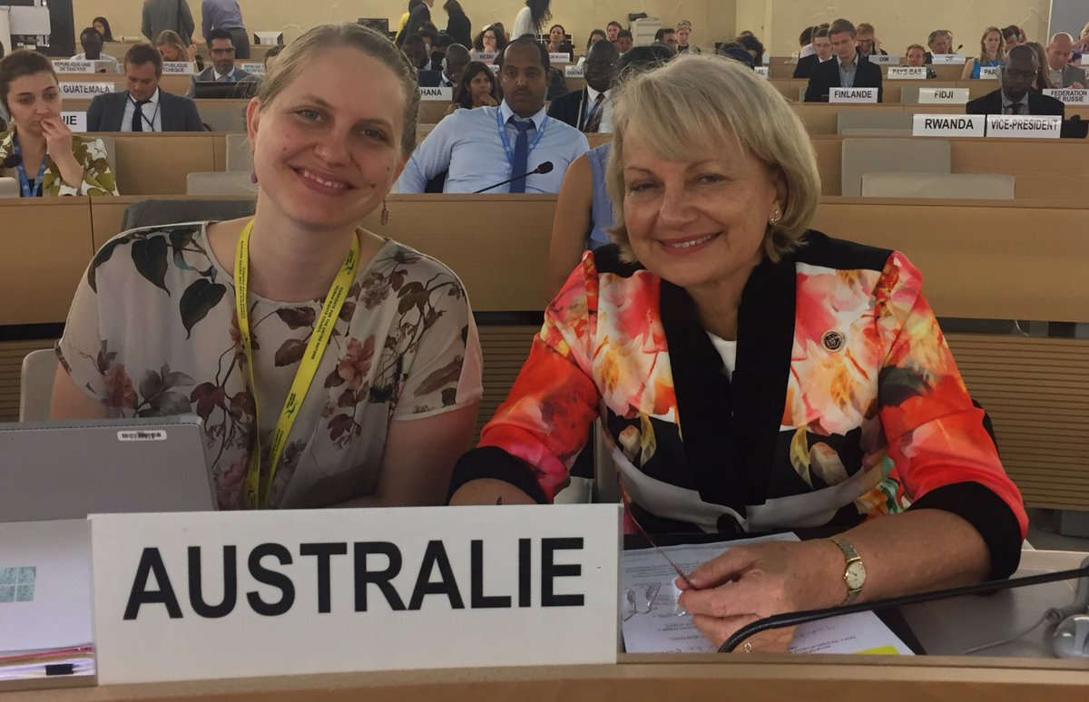 Finishing a busy day in the UN Geneva by making Australia's national statement to the Human Rights Council on the impact of violence against women human rights defenders and women's orgs in digital spaces. ⁦@dfat⁩ ⁦@JulieBishopMP⁩ ⁦@AustraliaUN_GVA⁩ #HRC38