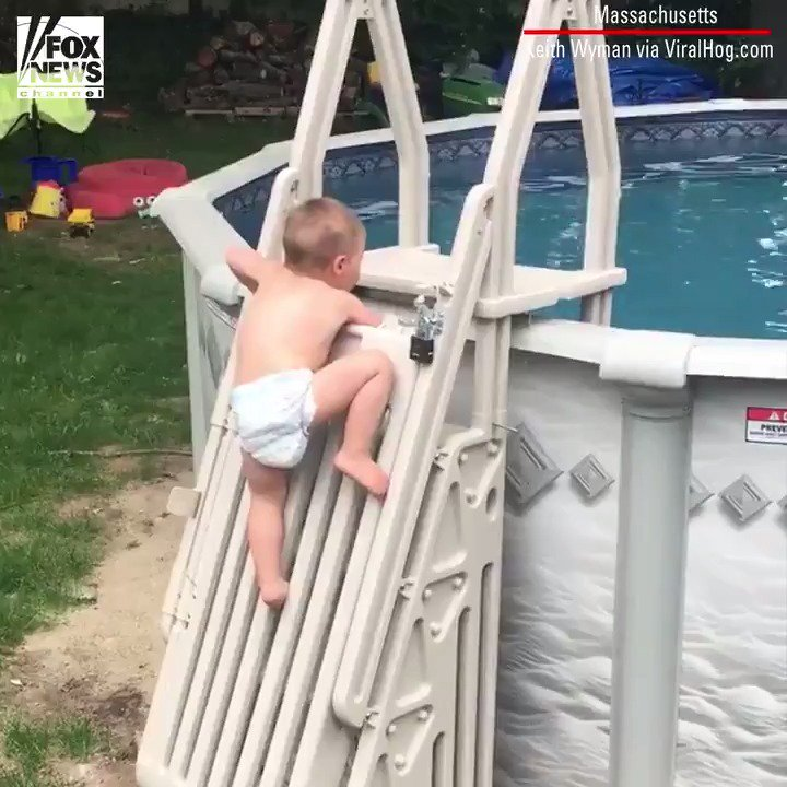Child scales 'un-climbable' pool ladder in viral video fxn.ws/2M0GyzE