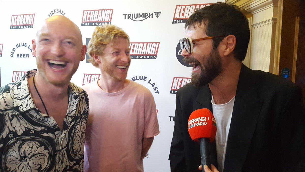 """""""This is great banter, it really is!"""" @BiffyClyro messing about on the red carpet at the #kerrangawards"""