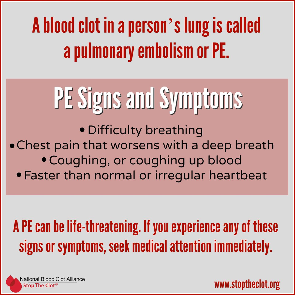 A Pulmonary Embolism PE Which Can Be Deadly Recognize The Symptoms Of Blood Clots In Lungs Bitly 1TQ36nz Pictwitter Lu2oRYjcfM