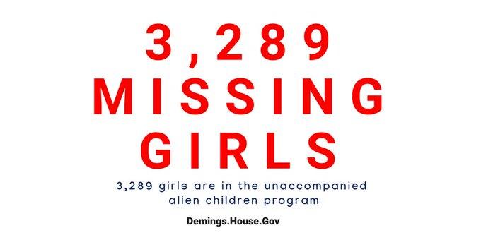 Banner reads 3,289 girls are in the unaccompanied alien children program.