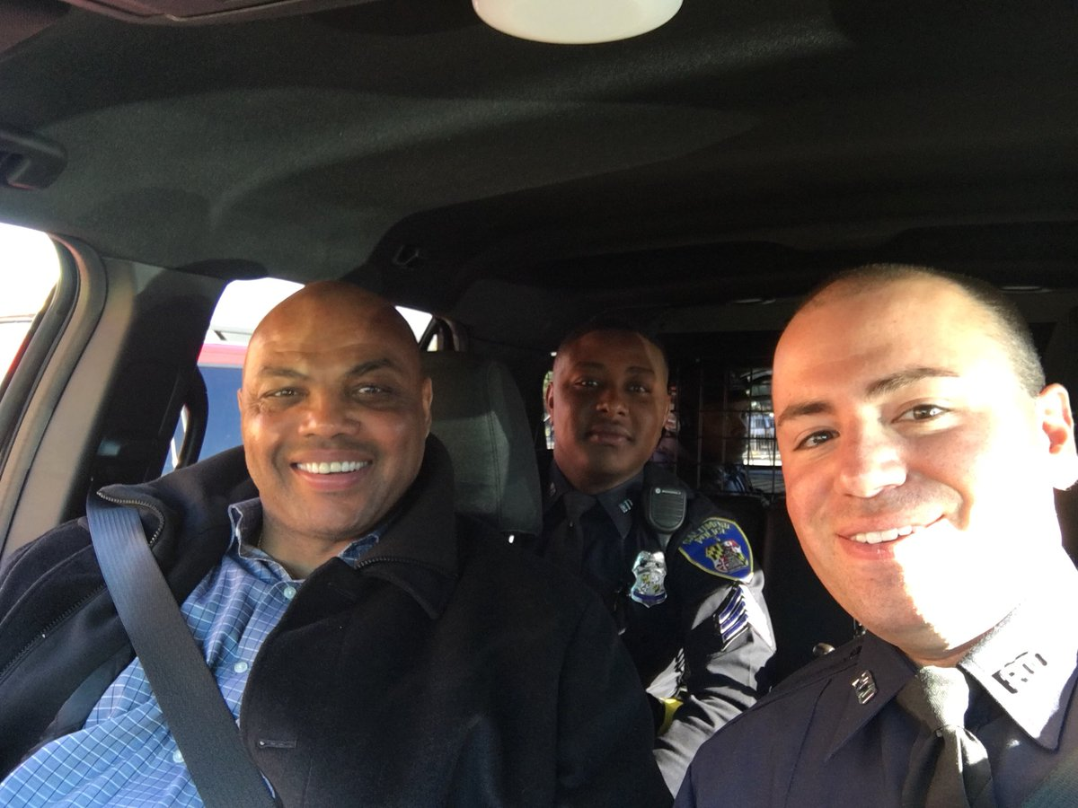 c74f116dbdb ... trifecta today -  NationalSelfieDay  FirstDayOfSummer and   ThrowbackThursday. A few years ago we took Charles Barkley on a   BaltimorePolice ride along.