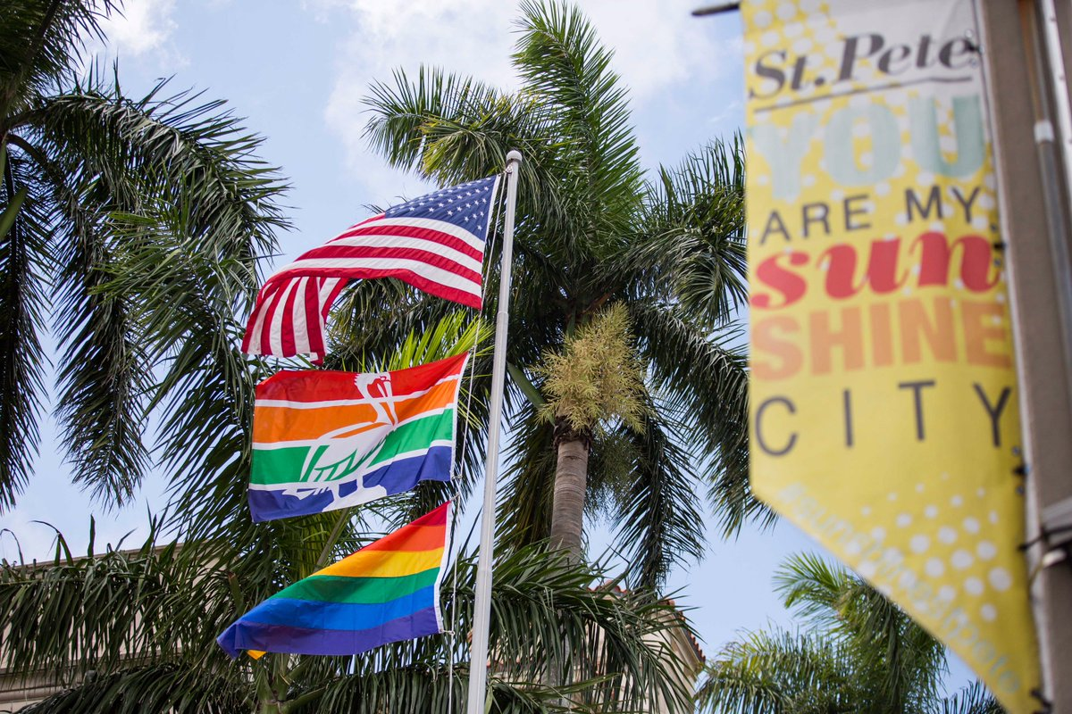 It's flying! Let's have a great #Pride weekend, St. Pete. #SunShinesHere