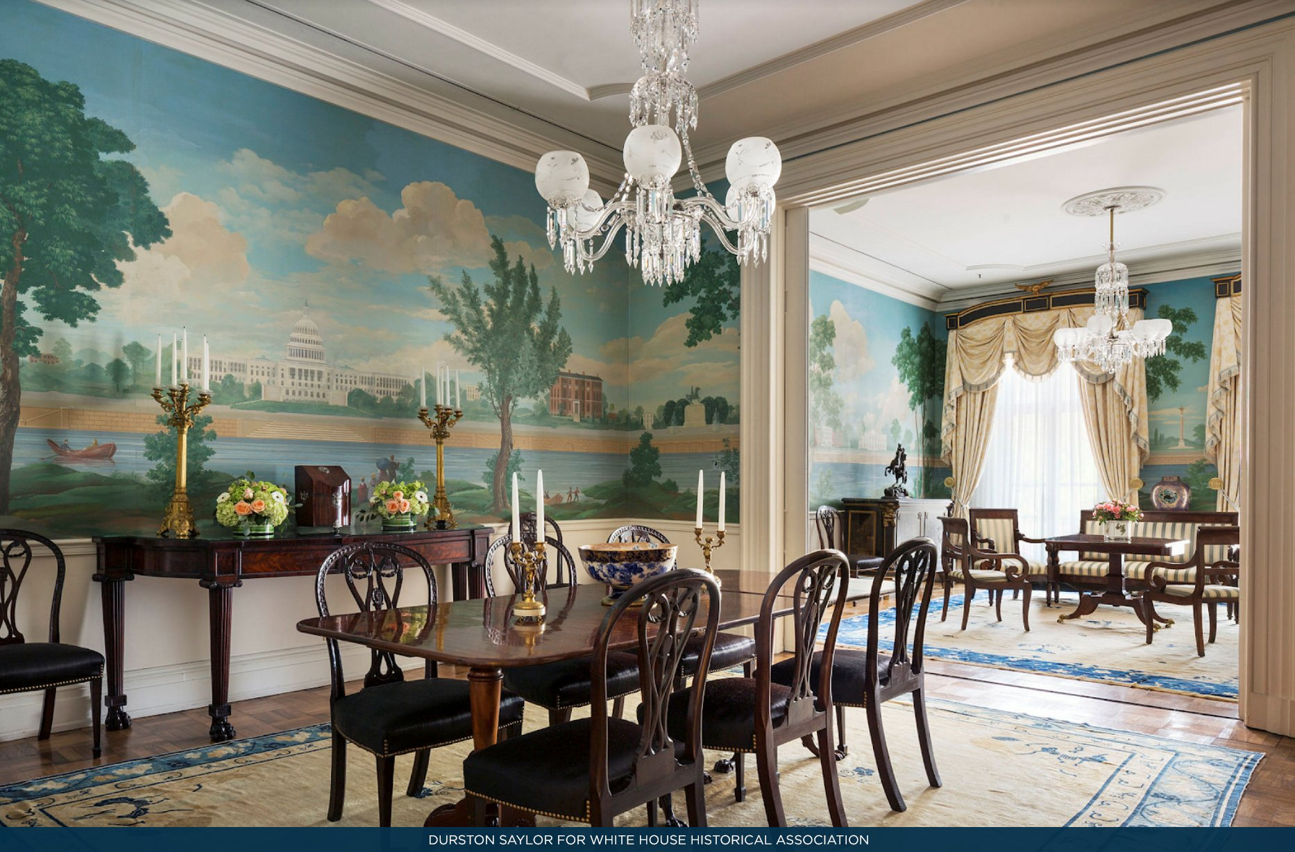 White House History On Twitter Both The Sitting Room And Dining At Jackson Place Feature A Mural Of Washington DC Painted By Robert