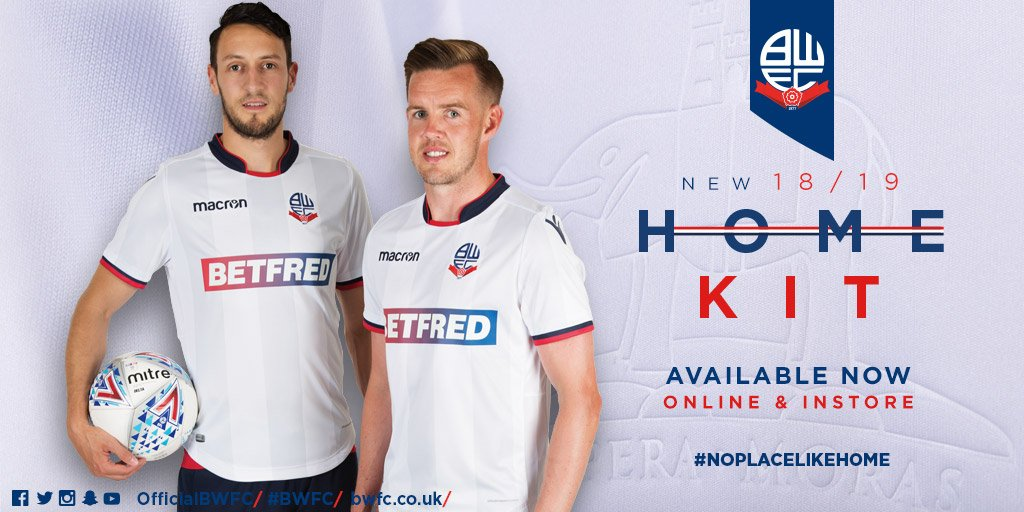 👕 Dont forget Wanderers fans - our 2018/19 @MacronSports home shirt is now on sale both instore at Bolton Central and online at bwfcdirect.co.uk! 👉 bit.ly/2tbibbB #BWFC 🐘 🏰