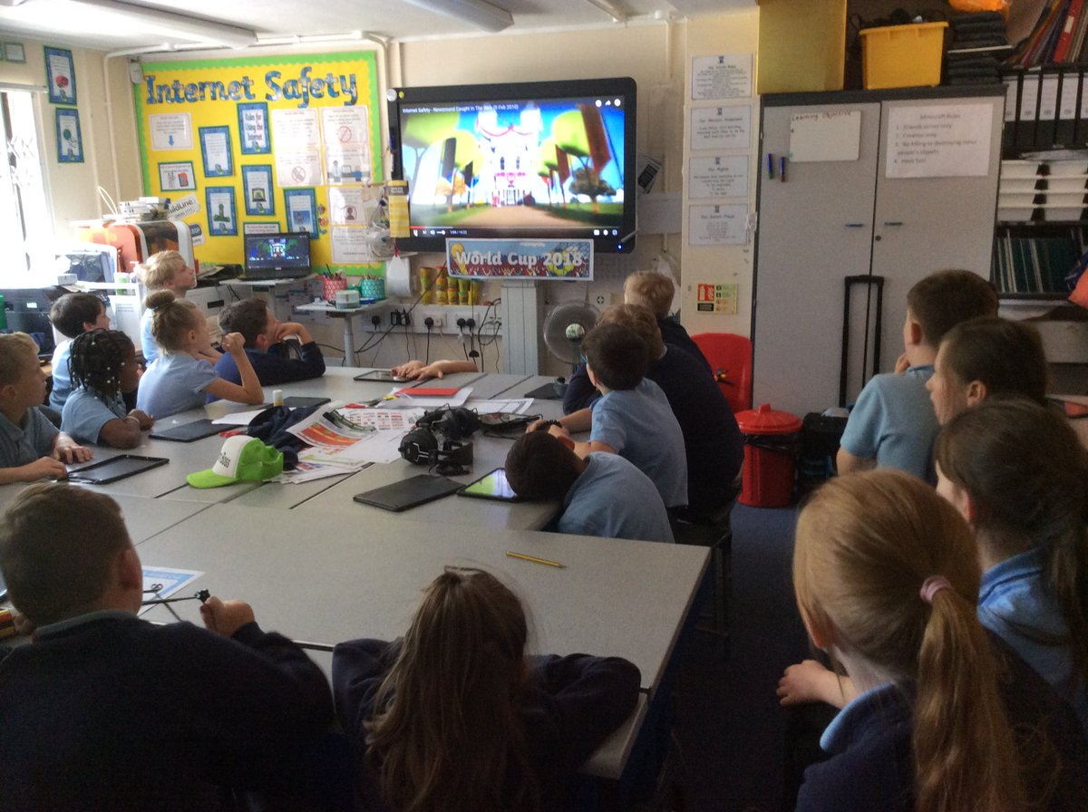 Year 4 watching Caught in the web, exploring the dangers of the Internet as `LostPrincess' embarks on a virtual and real life journey to meet a boy she's been chatting to on the Internet.