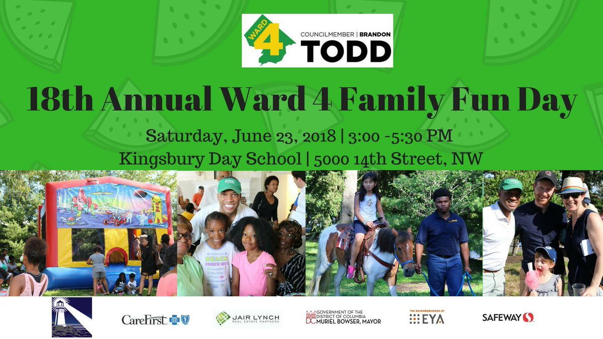 Summer is the time to hang out with old friends and make new ones! Enjoy some time with your neighbors at the 18th Annual #Ward4 Family Fun Day this Saturday! <br>http://pic.twitter.com/UfldFQ34ul