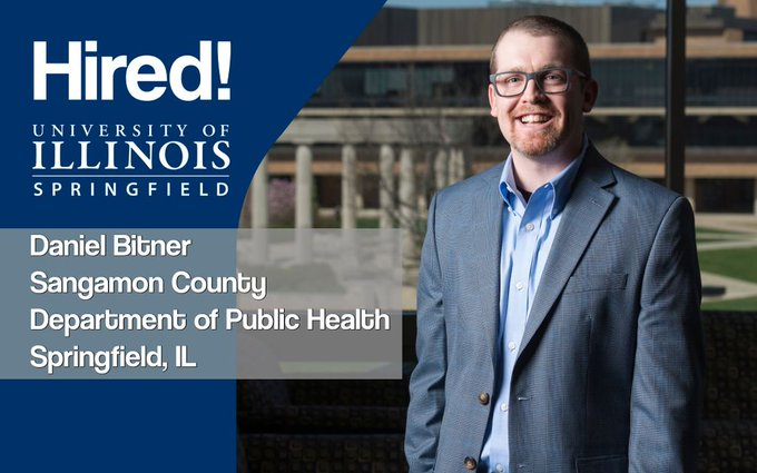 Recent #UISedu public health graduate Daniel Bitner got hired! He's now working as a Licensed Environmental Health Practitioner in Training at the Sangamon County Department of Public Health in Springfield. Congratulations! https://t.co/mfjfVgnKHN
