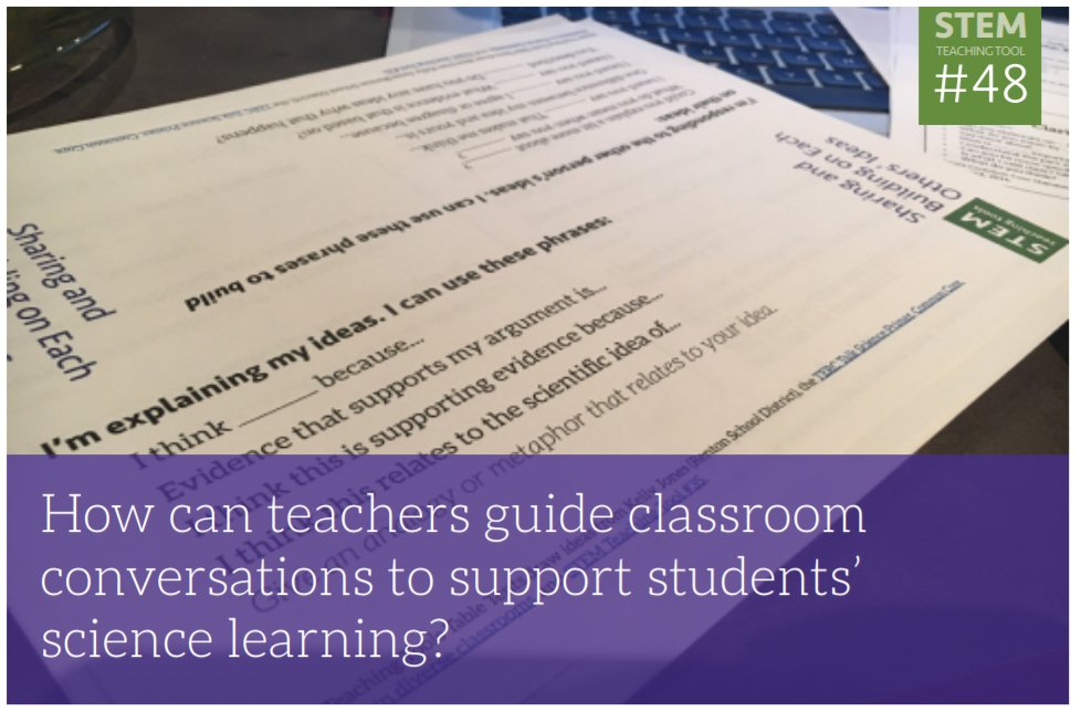 This page includes a ton of resources to facilitate science talk in your classroom. Read more about why student talk important and access those resources here:  http:// stemteachingtools.org/brief/48  &nbsp;   #NGSSChat #NGSS #SciEd<br>http://pic.twitter.com/tj9PvSdRyD