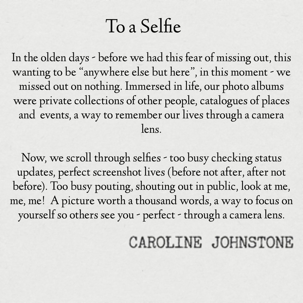 To A Selfie #selfieday