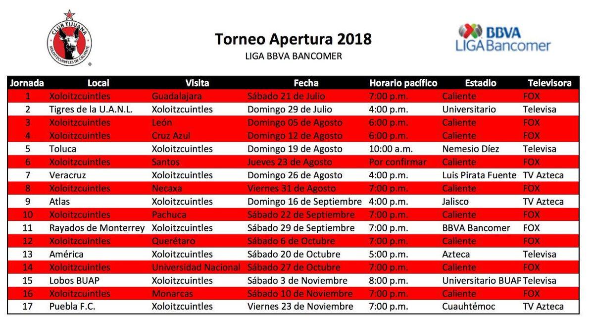 Calendario Fox.Xolo Mayor On Twitter Calendario Apertura 2018