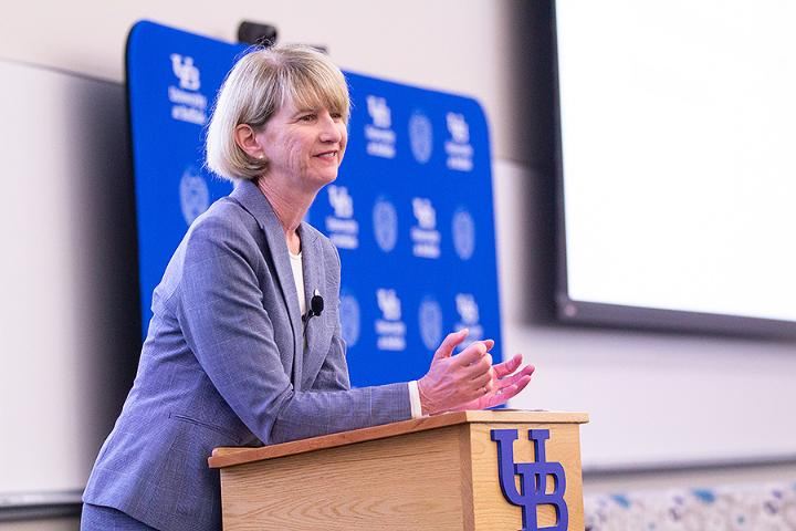 SUNY Chancellor Kristina M. Johnson took questions from the symposium attendees.