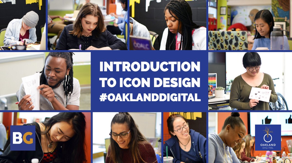 This week we introduced the basics of #icon #design with our #UX #apprentices – it's amazing how intricate the rules are to this sub genre of design! |#OaklandDigital #InspireOakland <br>http://pic.twitter.com/fmgs1RbC5C &ndash; à Oakland Digital (ODALC)