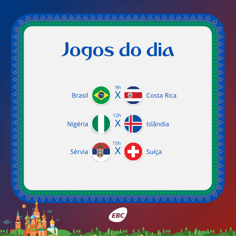🇧🇷 Hoje é dia de Brasil, bebê! ⚽ A bola rola para a seleção #Canarinho daqui a pouco, às 9h, e a equipe da #NacionalNaCopa traz tudo ao vivo! Acompanhe os jogos do dia pela rádio ou no nosso site:  https://t.co/69qvP0T0qO