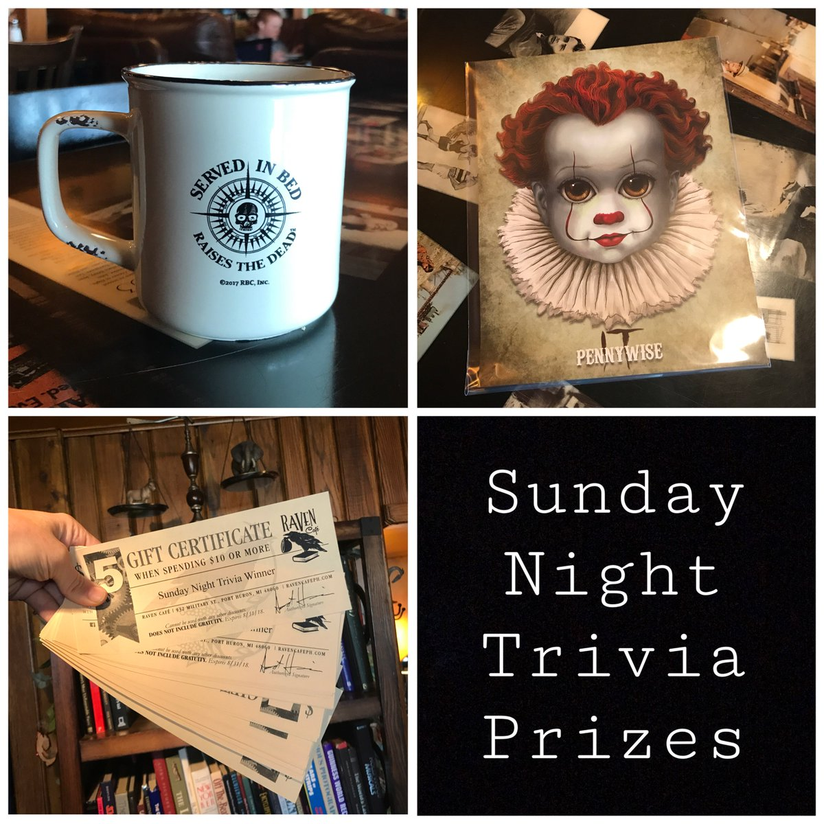 Sunday Night Triva Prizes! Grab a team (any size) and come play trivia this Sunday at 6:00 p.m. It's FREE to play and there are awesome prizes to win!!!! @bittybaddies @RavensBrew @mytrivialive<br>http://pic.twitter.com/QoVRT0N3bg
