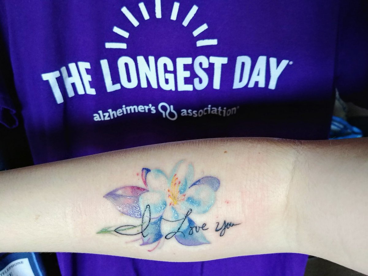 7cde803d3fe83 ... new #tattoo for her. It's her favorite flower and her handwriting. And  purple to #EndALZ. I participated in #TheLongestDay event with  @savingthrowshow ...