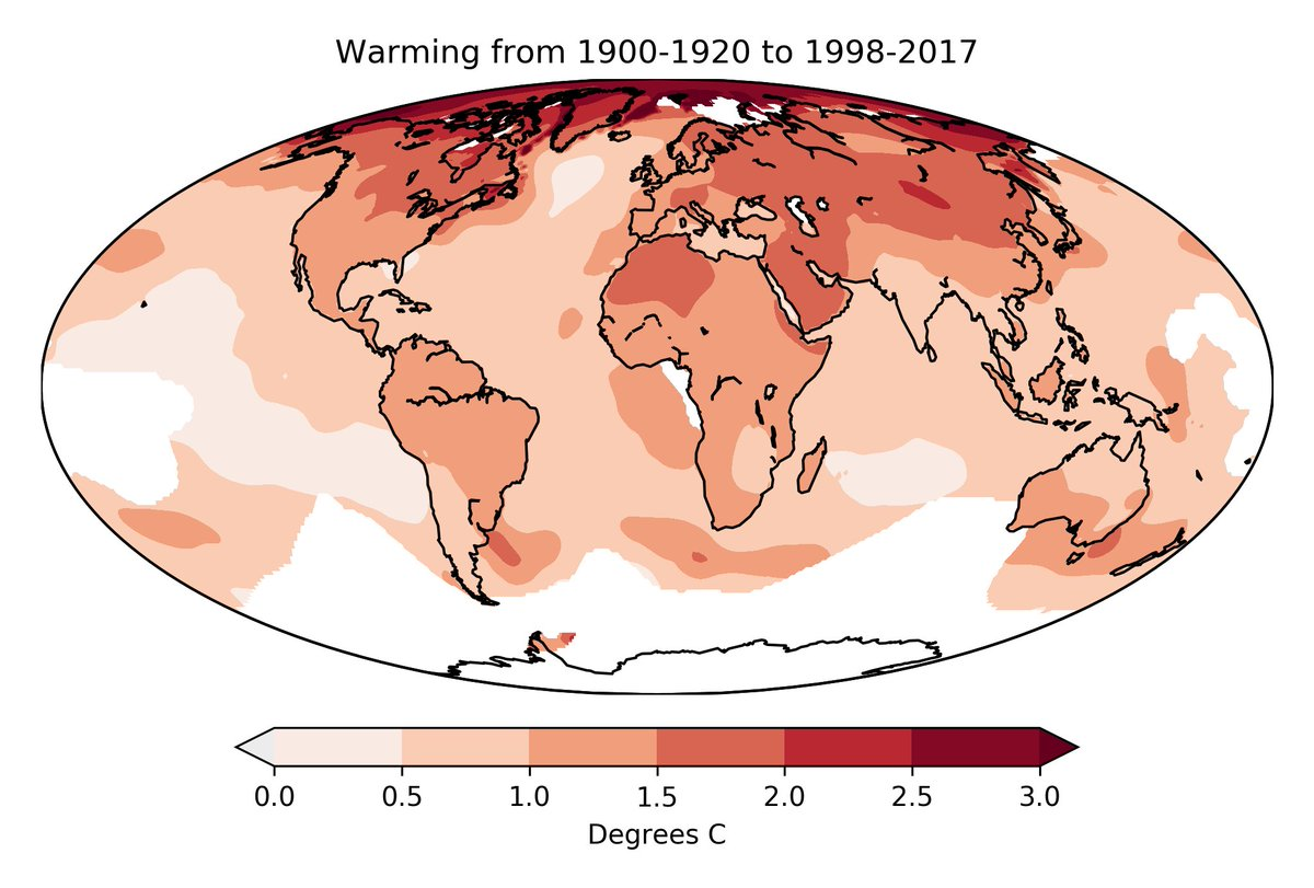 We talk a lot about global temperature targets like 2C, but some areas of the world warm faster than others. Here is how much warming has occurred over the past century in the @BerkeleyEarth record:<br>http://pic.twitter.com/4XKP2PkhPu
