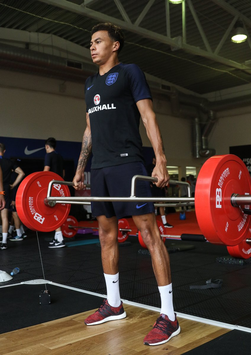 While the rest of the #ThreeLions group trained, @dele_official worked in the gym before continuing his rehabilitation on the pitch.