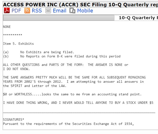 We can't believe the SEC approved $ACCR's 10-Q filing yesterday: