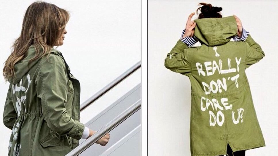 FLOTUS spox confirms Mrs. Trump wore a jacket to visit border kids that reads: 'I really don't care. Do you?' Spox says: 'It's a jacket. There was no hidden message. After today's important visit to Texas, I hope the media isn't going to choose to focus on her wardrobe.'