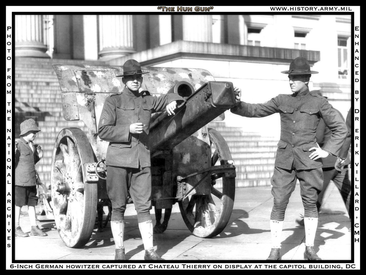 #throwbackthursday &quot;Cannondc3&quot; A 6-inch German howitzer captured near Chateau Thierry in July 1918 on display at the Capitol Building, DC. Photo via NARA. Enhanced by Dr. Erik B. Villard, CMH.  #armyhistory #WWI100 More information at:  http:// ow.ly/Xafc30kBjIs  &nbsp;  <br>http://pic.twitter.com/pCCNlMXEMI