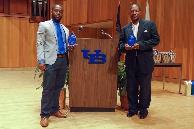 Hamadi Shebule (left) and James Simmons, recipients of UBEOC's 2018 Arthur O. Eve Education and Community Service Award and Distinguished Alumni Award, respectively.