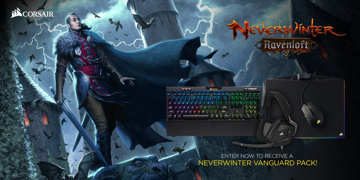 Ravenloft is almost here. Join us in celebrating @NeverwinterGame's upcoming expansion with some amazing in-game goods & CORSAIR prizes! Enter now to receive a Vanguard Pack – plus one grand prize winner will receive some new peripherals & in-game items : sdqk.me/F2b7UYwv-fLNvG…