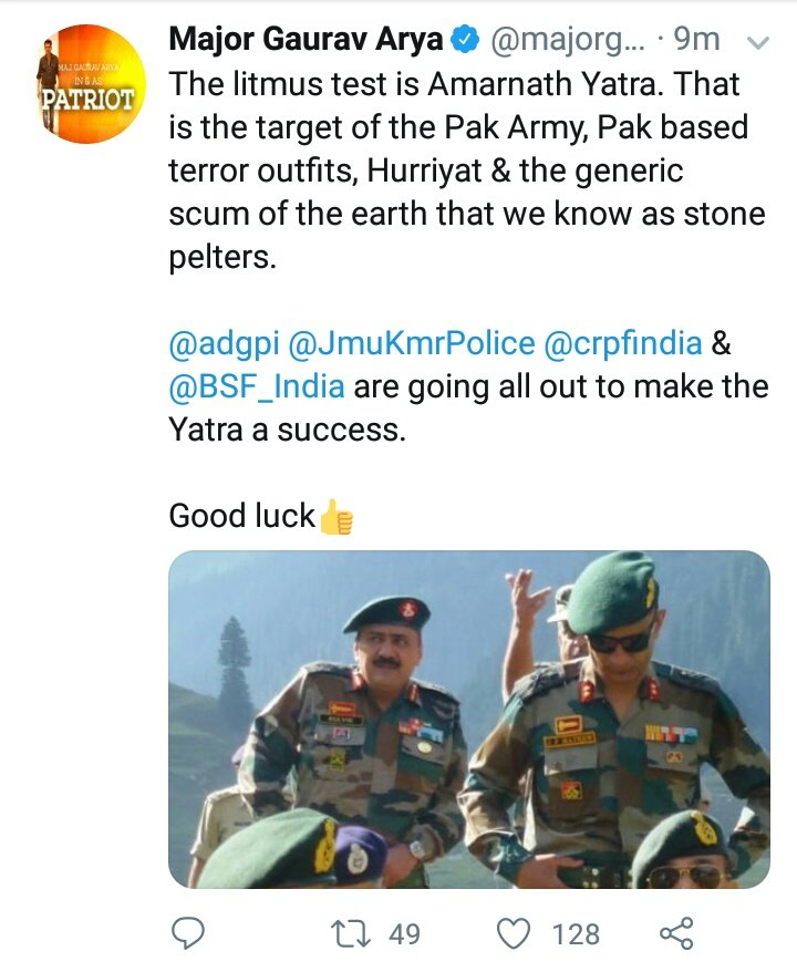 Amarnath yatra is a militarized pilgrimage wh is devastating fragile mountain ecology and glaciers only to mark a hindu cartography of india The overt militarization poses  security threats to tourists too Last yr a yatri bus came under fire in a militant attack on a police post <br>http://pic.twitter.com/V7mEByvjNv
