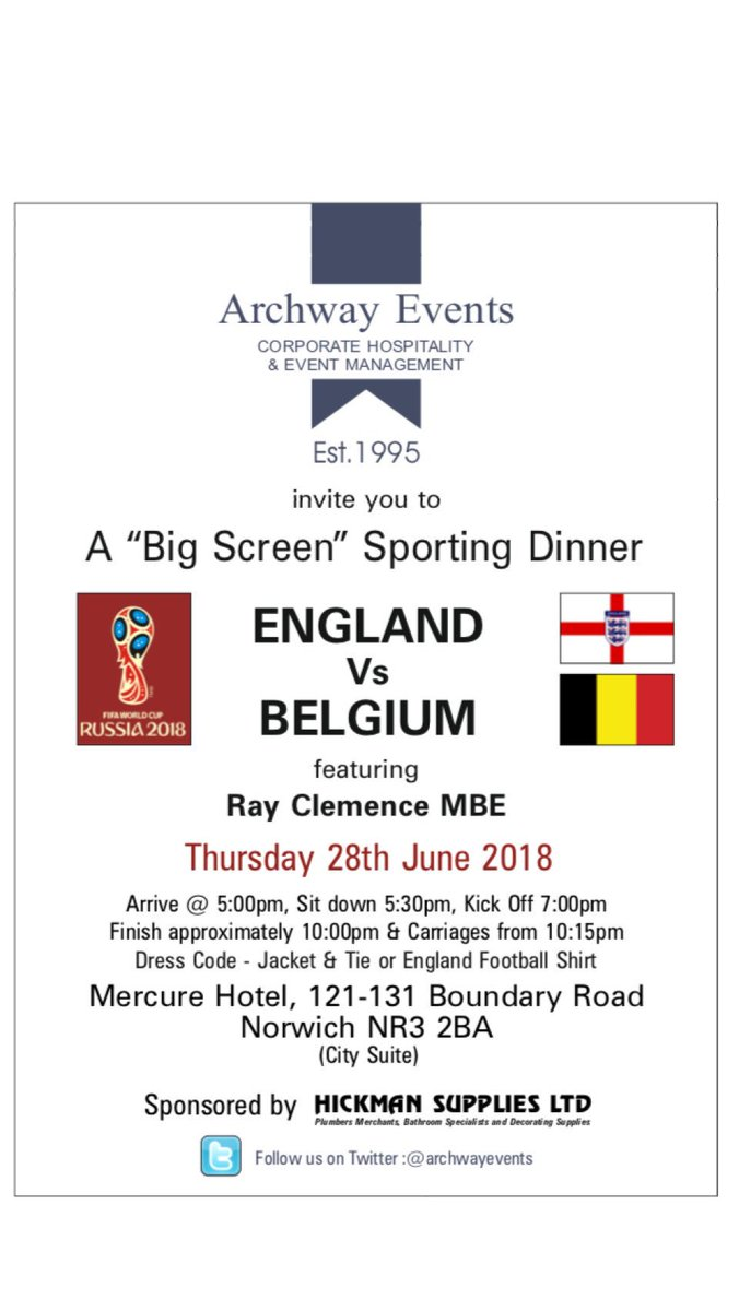 Looking forward to hosting another sell out Big Screen Sporting Dinner @mercurenorwich next Thursday - showing the England v Belgium match. Delighted that the legendary Liverpool, Spurs & England former goalkeeper @RayClem1 will be joining us. Sponsored by @neilahickman Supplies