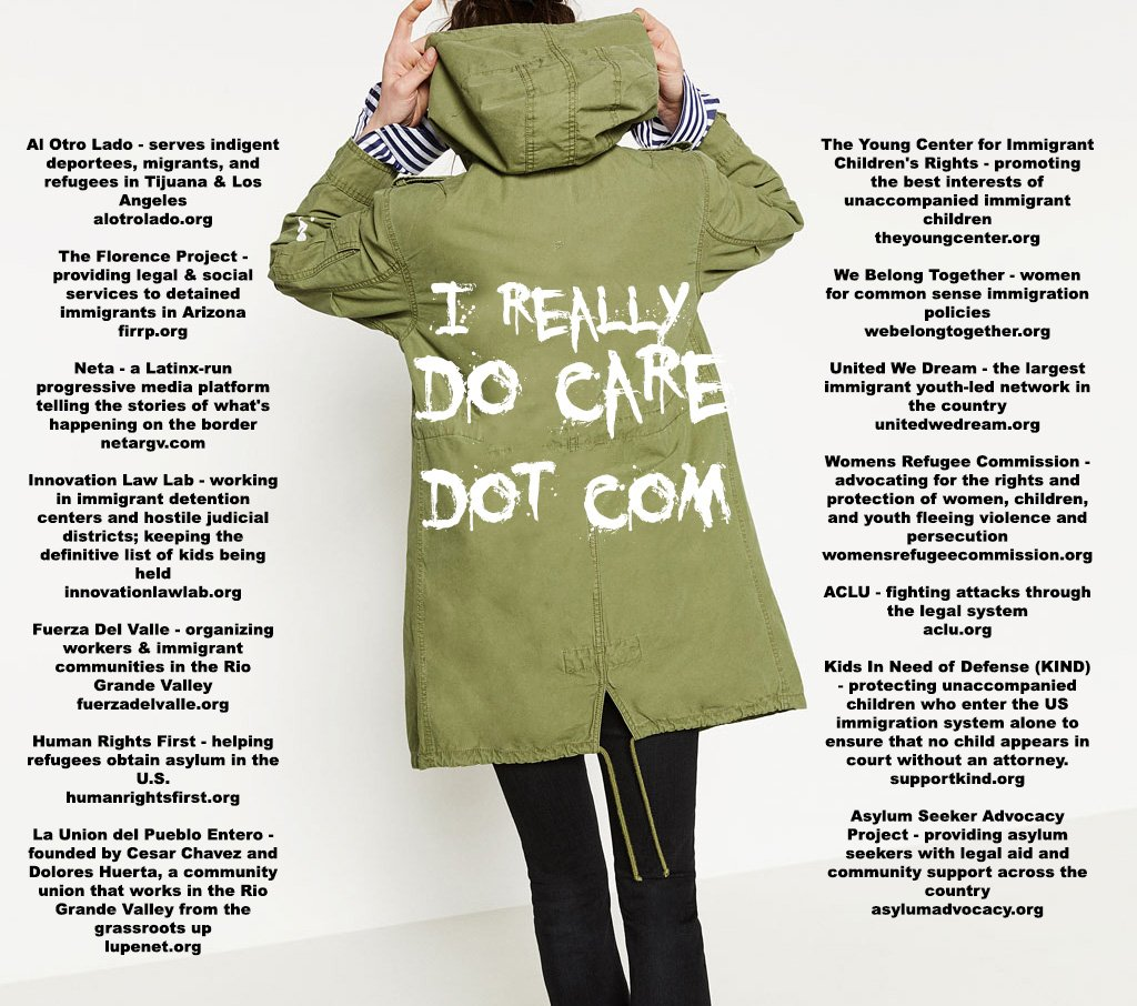 Since Melania Trumps jacket said I really dont care... I set up ireallydocare.com Click the link and itll take you to a site where you can donate to 14 awesome groups helping immigrants all at once. Feel free to RT if thats your jam.