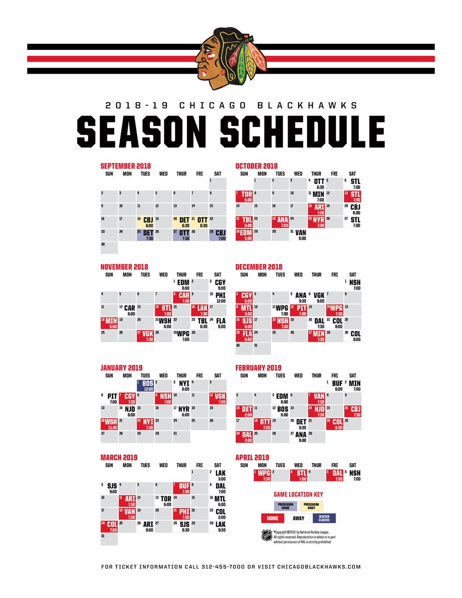 Effortless image intended for blackhawks schedule printable