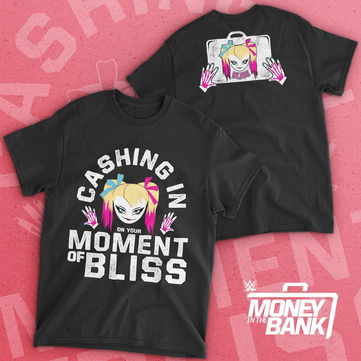 Celebrate the ultimate #MomentOfBliss when @AlexaBliss_WWE successfully cashed in her #mitb contract & became #Raw womens champion! New t-shirt now available at #WWEShop. #WWE #AlexaBliss bit.ly/2MPgPvk