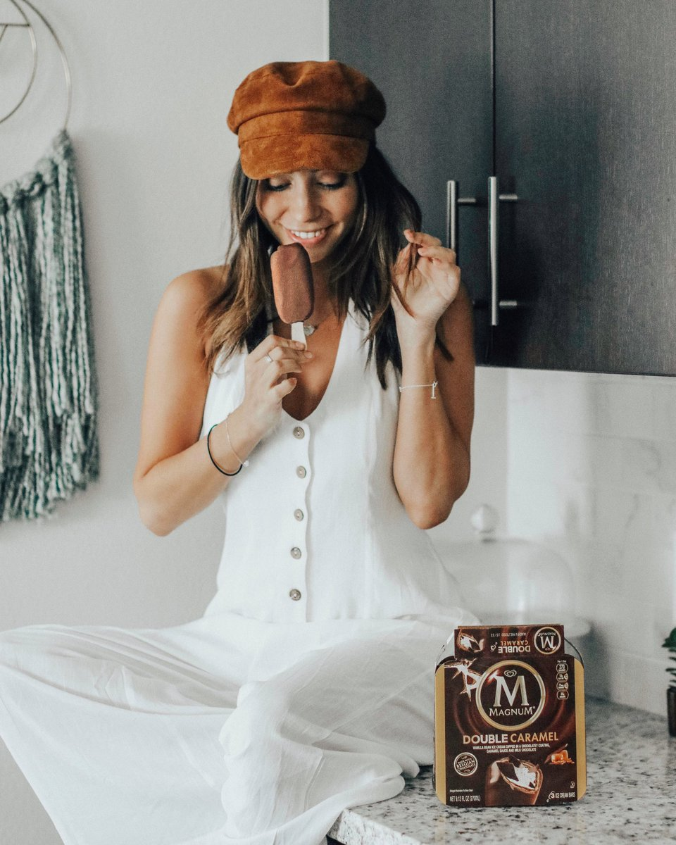 #MagnumAmbassador All I want to eatthis summer are@MagnumIceCream Doubles! Seriously, they're so delicious and theMAGNUM Double Caramel is hands downmy favorite dessert!!!They are the only ice cream bar made with Belgian chocolate and are coated with a chocolate shell! 😍💕